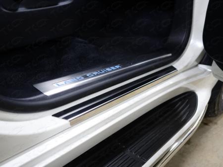 Toyota Land Cruiser 200 2015 Накладки на пороги с гибом (лист зеркальный)